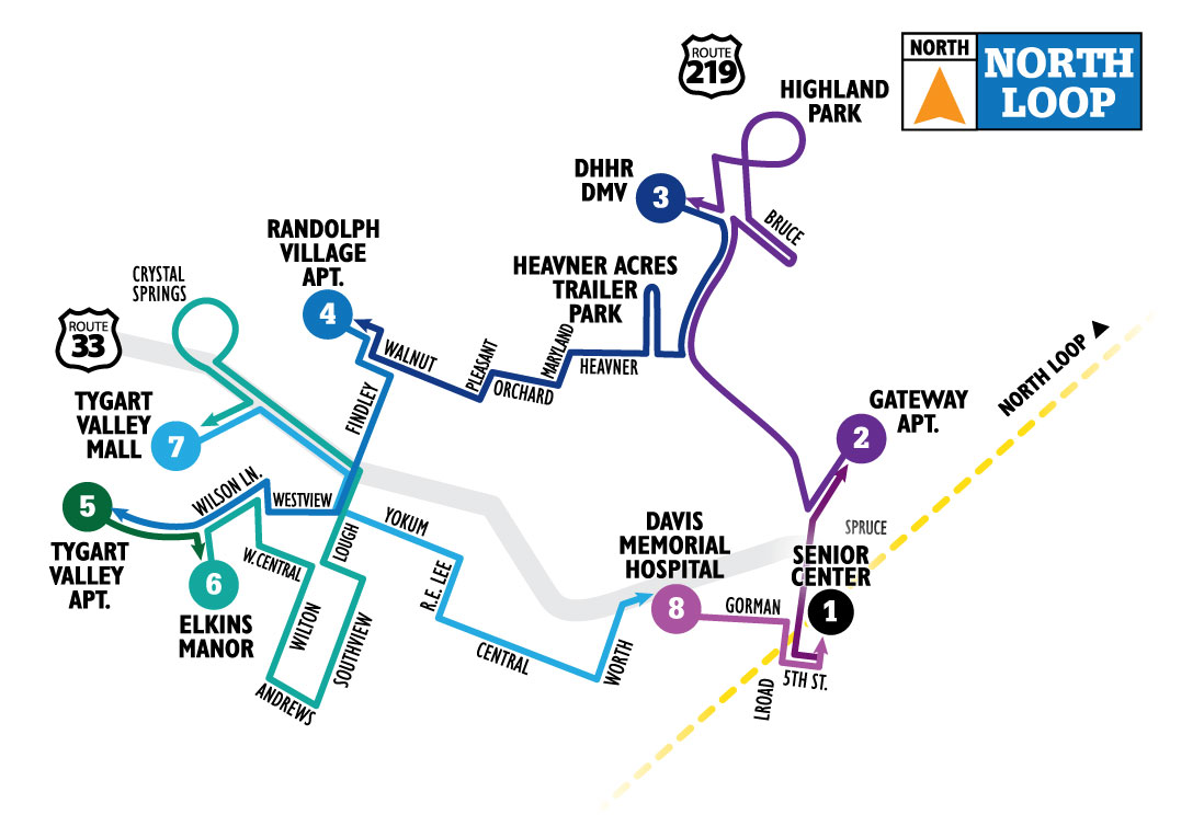 Country Roads Transit Elkins Loop North Map